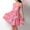 Pink cotton dress with butterfly print, straps or cap sleeves