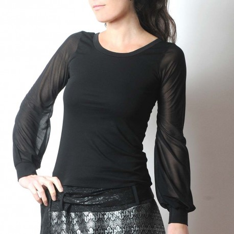 Black fitted top with long black mesh puffy sleeves