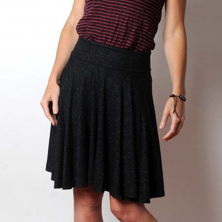 Flared sparkly black stretchy jersey skirt