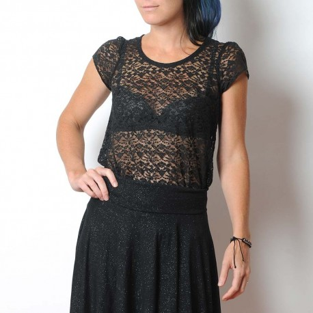 Sheer black lace sweater, short sleeves