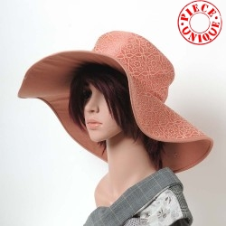 Salmon pink and beige floral floppy hat