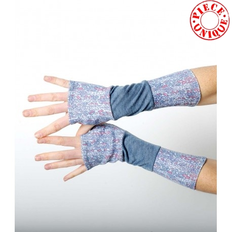 Grey-blue armwarmers in a patchwork of solid and printed jerseys