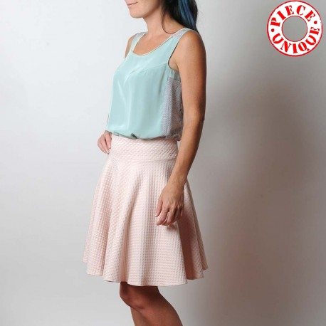Flared skirt in pale pink textured jersey