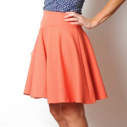 Flared orange textured jersey skirt