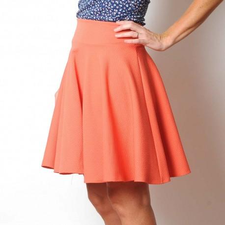 Flared orange textured jersey skirt