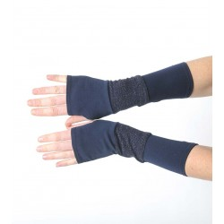 Dark blue armwarmers in a patchwork of jersey and knit