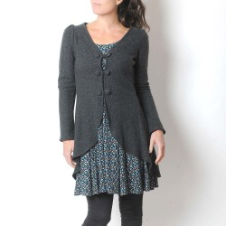Dark grey boiled wool women's swallowtail jacket