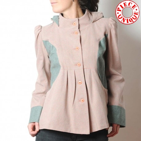 Short A-line jacket with round hood, vintage pink and green wool
