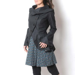 Dark grey assymetrical wool jacket with ruffled back