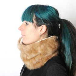 Light brown real fur Cowl, recycled