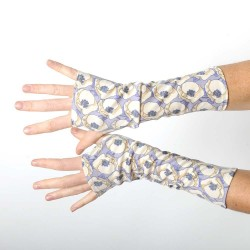 Long fingerless gloves in vintage beige and lilac floral jersey
