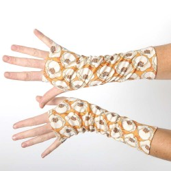 Long fingerless gloves in vintage beige and orange floral jersey