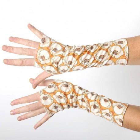 Long fingerless gloves in vintage beige and orange floral jersey