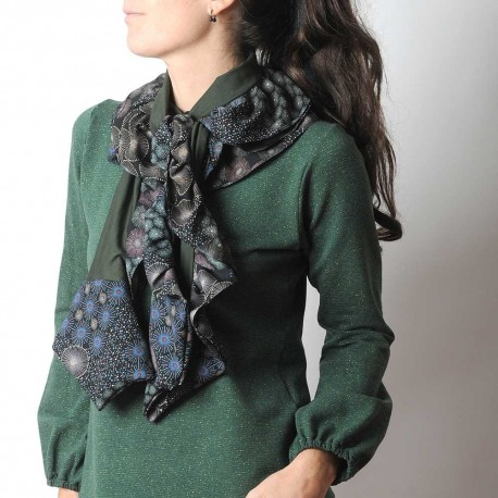 Ruffled khaki green patchwork scarf, jersey and patterned fabric