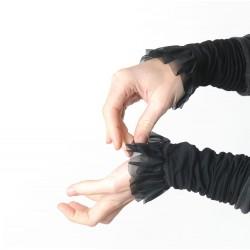 Manchettes élégantes longues noires, volants en voile