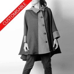 High-low hooded cape with wide sleeves - CUSTOM HANDMADE