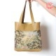 Beige leather shopping tote bag with vintage castle on the hill tapestry