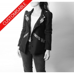 Unique designer womens jacket, high collar