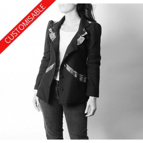 Unique designer womens jacket, high collar