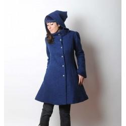 Manteau d'hiver bleu indigo à Capuche de Lutin en laine