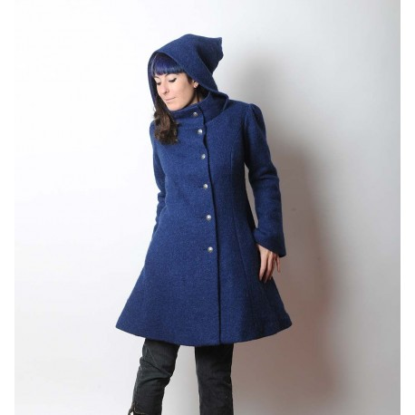 Indigo blue women's winter Pixie coat with Goblin Hood in virgin wool