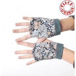 Grey floral fingerless gauntlets