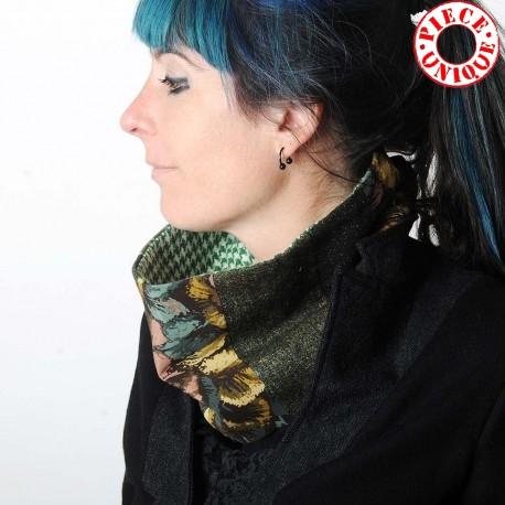 Col foulard made in france original en patchwork vert, kaki, vieux rose