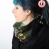 Green, khaki, floral patterned patchwork Cowl Scarf