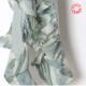 Echarpe volantée, jersey vert pâle et tissu imprimé assorti
