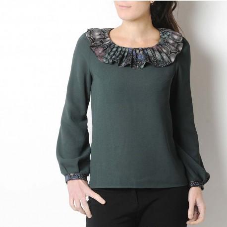 Long sleeved dark green top with ruffled collar