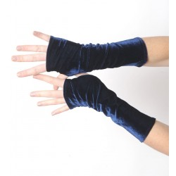 Long fingerless gloves in soft dark blue stretchy velvet