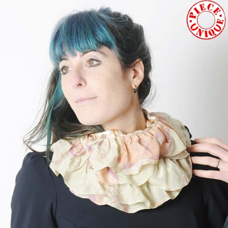 Ruffled beige and orange scarf, vintage floral jersey and silk