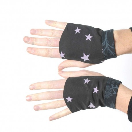 Black fingerless gauntlets with lilac stars