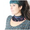 Pleated navy blue and pink floral fabric necklace