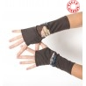 Long stretchy armwarmers in a patchwork of brown jersey and printed mesh