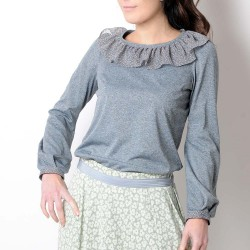 Long sleeved women's top with ruffled voile collar, grey jersey