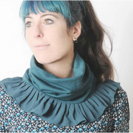 Blue-green stretchy pleated snood with sheer voile ruffles