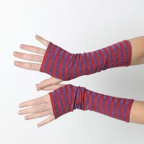 Striped red and glitter purple fingerless gloves