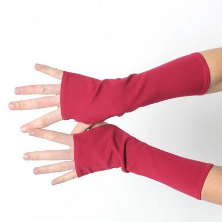 Mitaines longues fabriqué en France original made in france créateur femme rose foncé unies