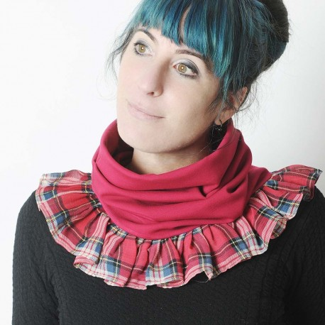 Dark pink stretchy pleated snood with sheer plaid voile ruffles