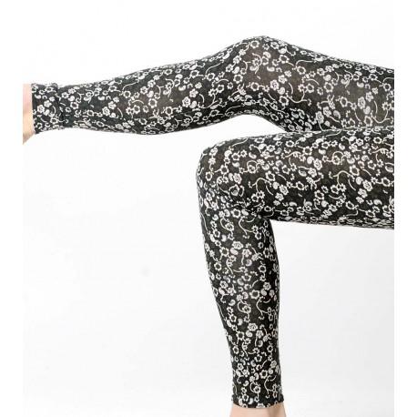 Leggings femme fabriqué en France en jersey fleuri noir, vert blanc