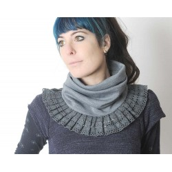 Grey pleated snood with lace ruffles