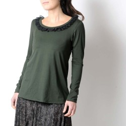 Long supple top in supple dark green jersey, black ruffled neckline