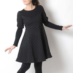 Robe fabrication artisanale jersey molleton noir étoiles blanches, manches gigot