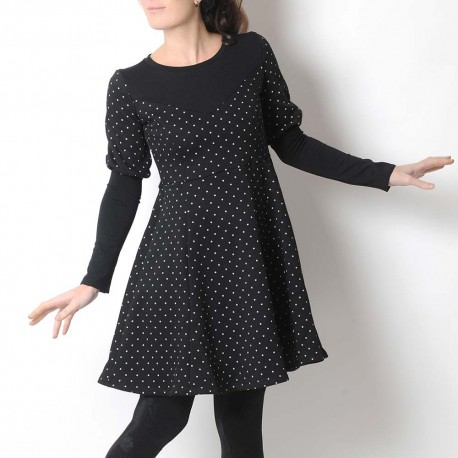 Thick black jersey dress with white stars, leg-of-mutton sleeves