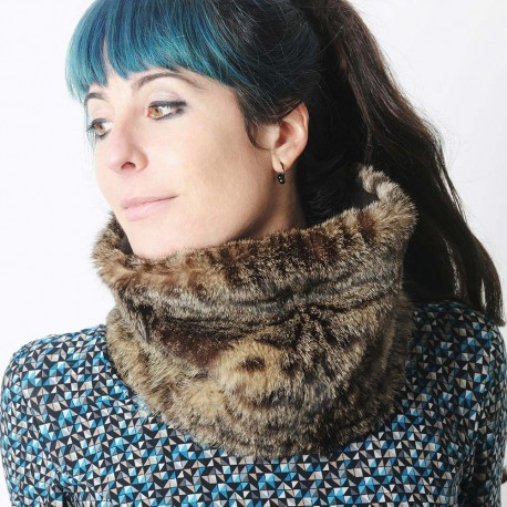 Winter Cowl scarf, recycled vintage fur