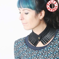 Pleated black choker necklace, cotton and pleather
