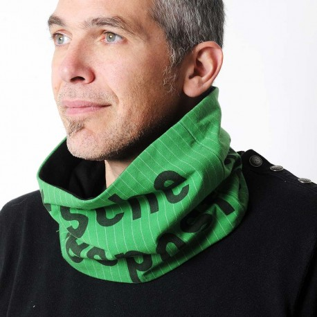 German postal cowl in green and black, upcycled cotton