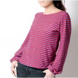 idée cadeau pour femme Pull rayé lurex violet, manches longues bouffantes, rouge ou vert