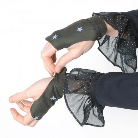 Khaki green fingerless gauntlets with pale blue stars
